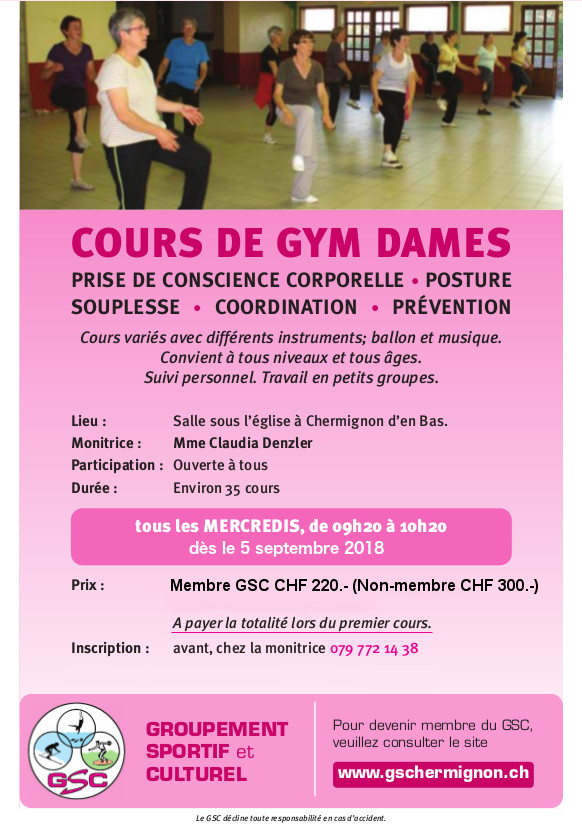 Cours gym dames