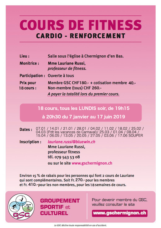 Cours fitness cardio