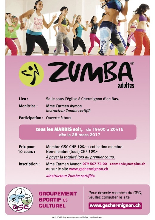 Coures zumba adultes